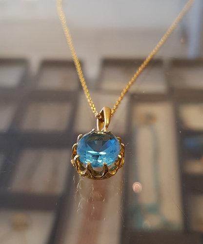 Blue topaz gamstone pendant, Blue topaz necklace