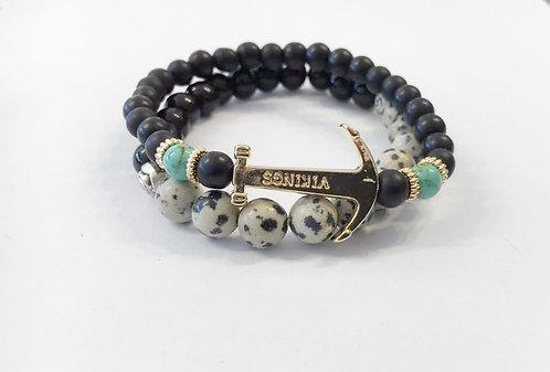 Set of Balls Bracelet ,Men's bracelet ,Beads bracelet, Men jewelry, Anchor charm