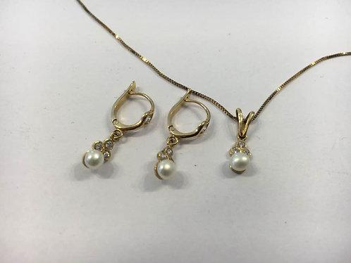 14K gold set , Fine pearl & zircins set , Set for bride