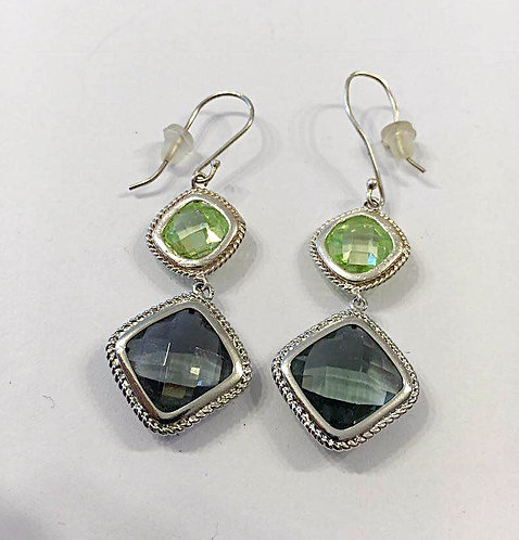 Silver earrings , Dangle earrings , Geometric earrings , Green earrings