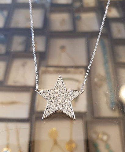 Silver star necklace ,925 silver pendant ,Silver jewelry