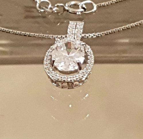 Oval zircon pendant, Silver pendant, 925 silver pendant, Cristal necklace