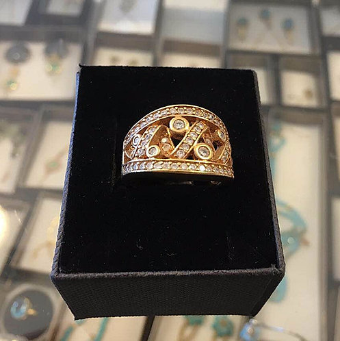 Gold-filled Ring , Thic  ring , Zircons jewelry