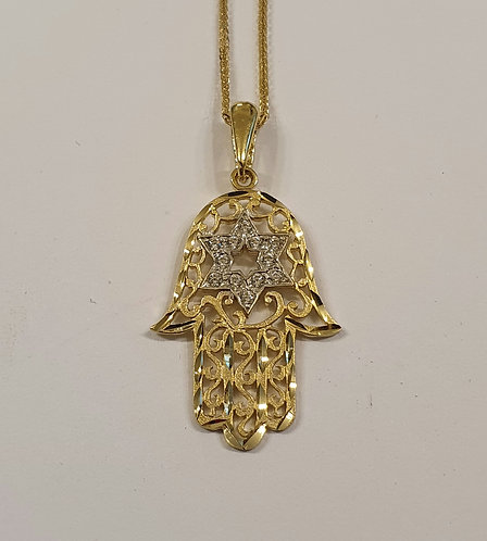 14K gold hamsa Pendant , Hamsa & star of david pendant