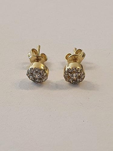 Gold 14k earrings ,Elegant zircons earrings , Round earrings