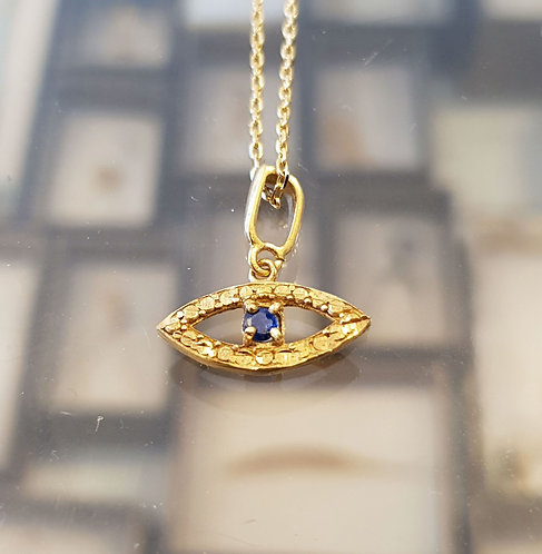 Eye pendant ,Sapphire stone, Blue evil eye necklace