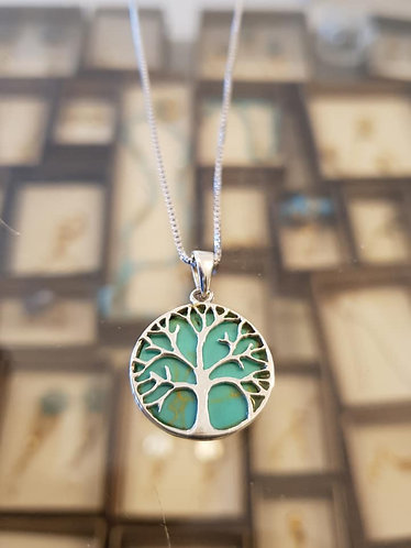 Turquoise tree of life pendant , Silver 925 pendant, Tree of life neckl