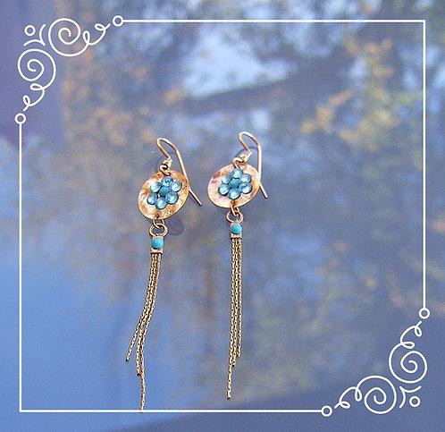 Goldfield earrings , Dangle earrings , Blue light earrings
