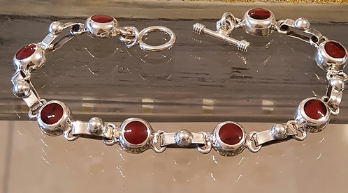 Red coral bracelet, Silver 925 bracelet,Multy Natural Coral stone