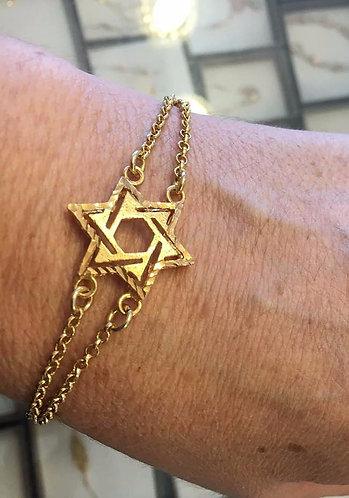 Star of david bracelet , Gold-filled bracelet