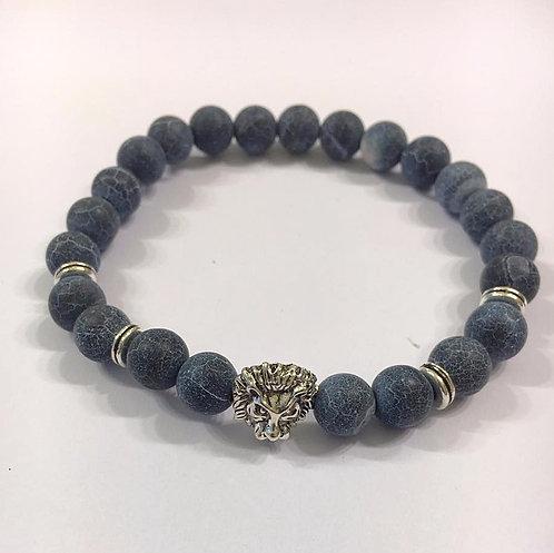Lion charm Bracelet ,Men's bracelet , Beads bracelet, Men jewelry,Lion charm