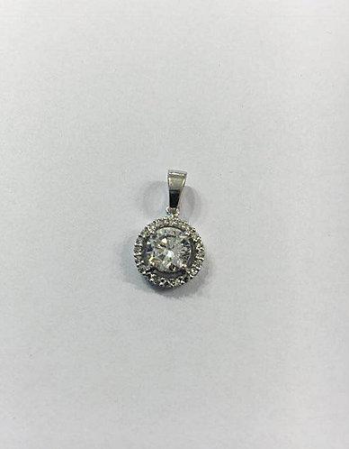 White14K gold Pendant , Zircon pendant , White gold , Round zircon