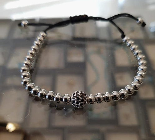 Balls Bracelet Buddha ball studded with Black Zircons