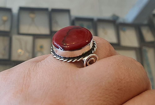 Silver ring, Red coral ring, Coral gemstone ring,Round coral gemstone,Red ri