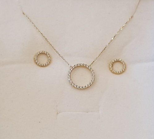 Delicate14K gold set, Circle of life pendant,Gold necklace,Gold
