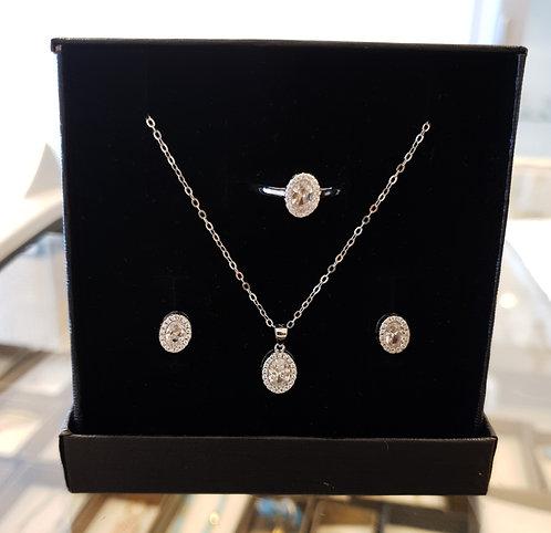 Elegant silver oval set ,Silver set, Crystals set