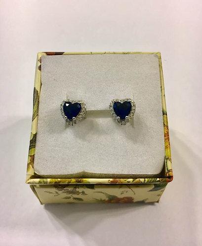 silver earrings , Sapphire  earrings , Heart earrings