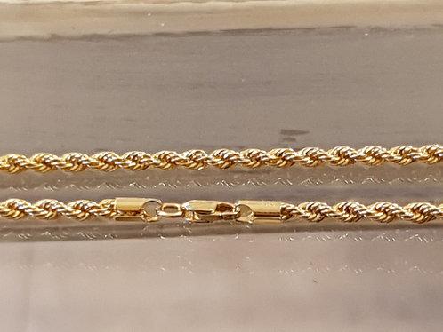 14k gold rope chain, Gold bracelet, Yellow 14k gold bracelet