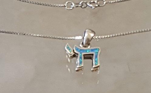 """""""Chai"""" Silver pendant , Kabbalah pendant , Opal chai pendant"""