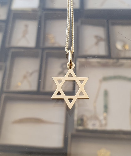 Star of David ,14K gold Pendant ,Gold smooth Star of David