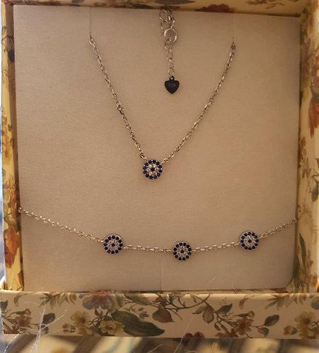 Evil eye silver set ,Silver set,Sapphire Crystals set, blue eye set