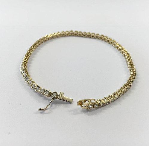 14K gold bracelet ,Zircons bracelet, Gold jewelry