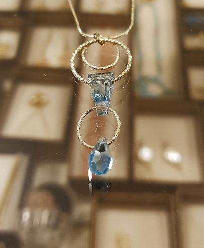 Blue light Swarovski pendant , Hoop silver pendant