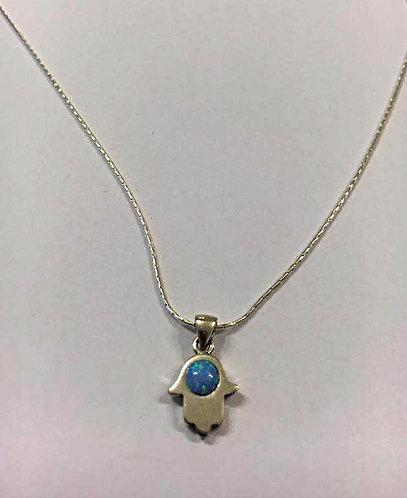 Hamsa pendant , Sterling silver  Hamsa  pendant , Opal jewelry