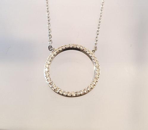 Round zircon pendant, Life silver pendant, 925 silver pendant