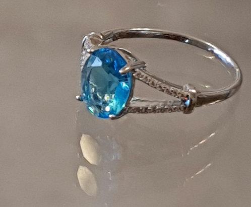 Blue Topaz jewelry,Silver 925 ring, Blue Topaz gemstone ring