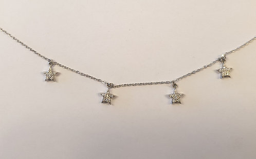 925 Silver star neacklac, Star Charms Necklace ,Silver necklace,Zircon star