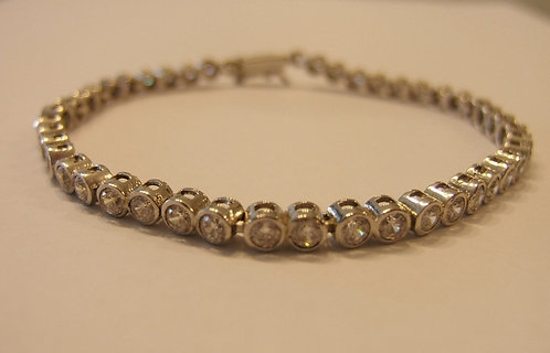 Tennis bracelet , Zircons bracelet , Round Tennis Bracelet , Silver barcelet