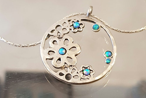 Opal flowers pendant,Flower necklace, 925 silver round pendant,Opal jewelry