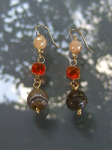 Fire Agate earrings stons , Dangle and drop errings, Gold filled earrings, Brown