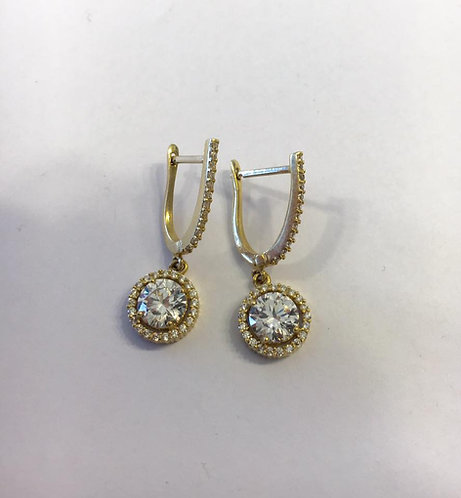 Gold 14k earrings ,Elegant earrings with Zircons , Round zircon