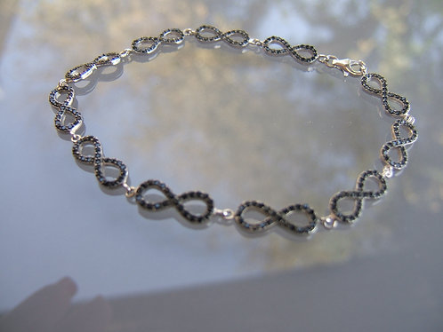 Bracelet Ainifiniti, Zircons blacks,  925 silver bracelet