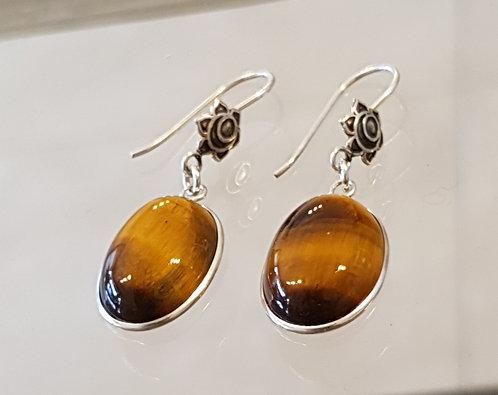 Tiger eye gemstone earrings,Gemstone earrings,925 silver earri,Tiger eye earr