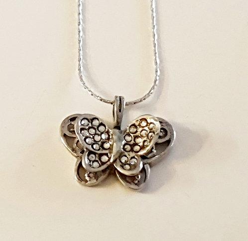 Butterfly pendant , Silver necklace , Butterfly jewelry