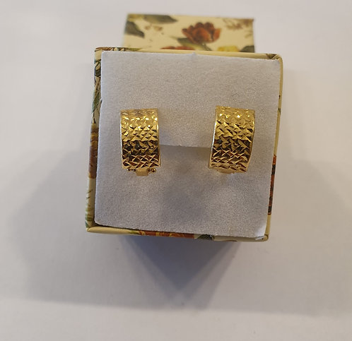 Italian Gold Earrings K14 Rectangular , Gold 14k earrings