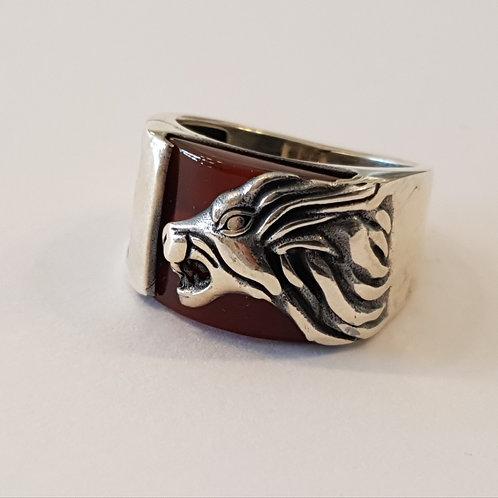Lion Silver ring, Carnelian ring, Gemstone ring,Ring for men