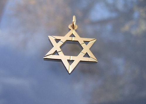 Star of David , 14K gold pendant , Star of David pendant , Italian gold