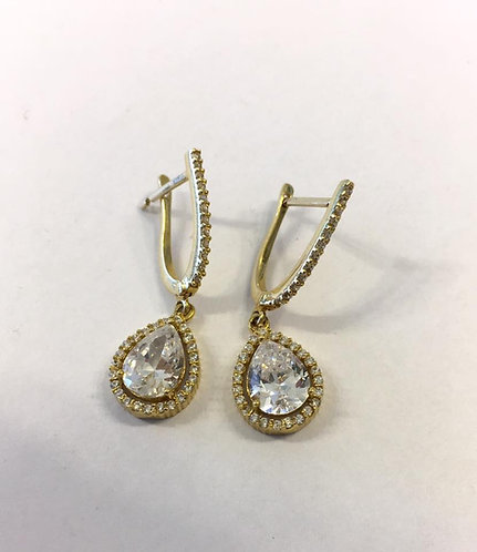 Gold 14k earrings ,Elegant earrings with Zircons