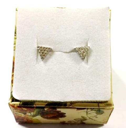 silver earrings , Zircons  earrings , Triangular earrings , Silver j