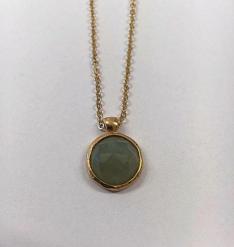 Green Prehnite gemstone ,Gold-filled necklace, Prehnite stone jewel