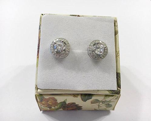 silver earrings , Zircons  earrings , Round earrings , Silver j