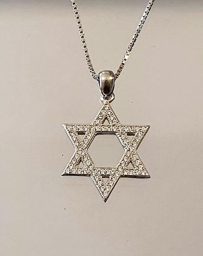 Silver zircon pendant , Star of david pendant, star of david jewelry
