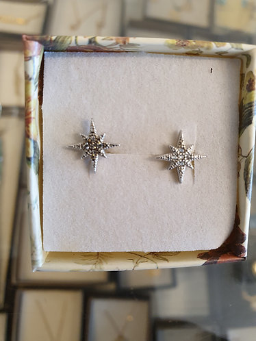 silver earrings , Zircons  earrings , Star earrings , Zircon star earrings