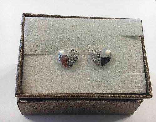 silver earrings , Zircons  earrings , Heart earrings , Silver j