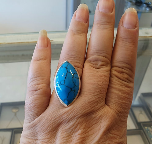 Marquise Silver ring,  Mexican turquoise ring, Turquoise gemstone ring