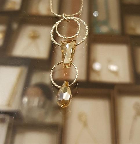 Champagne Swarovski pendant , Hoop silver pendant